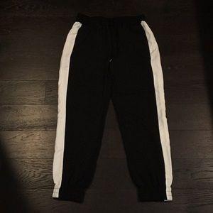 NEW White Stripe Black Drawstring Pant